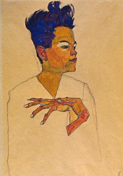 Egon Schiele, Hands on Chest, 1910