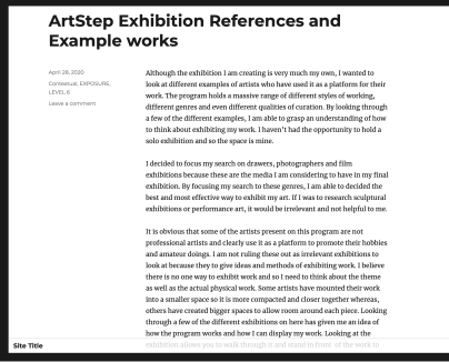 Blog talking about ArtStep exhibitions I have researched into