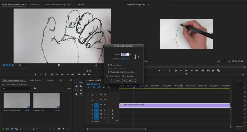 Editing the speed